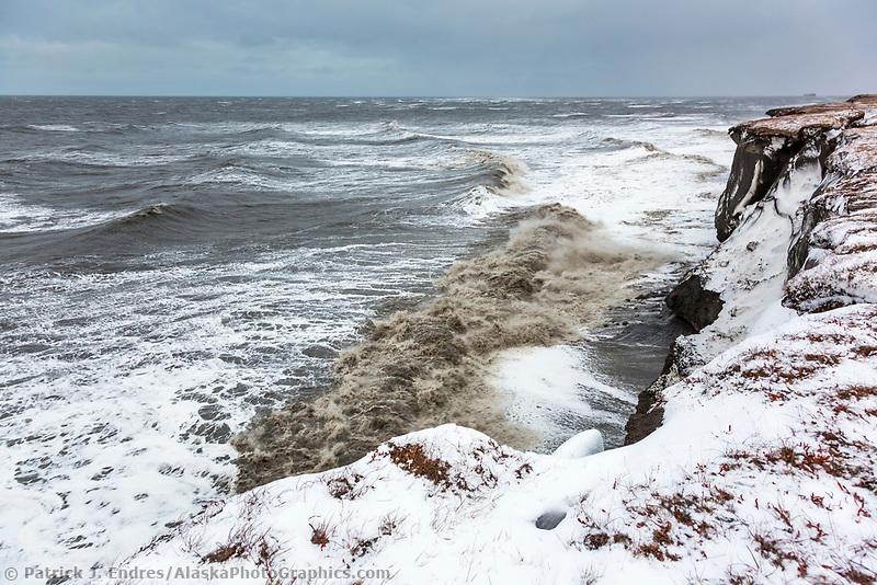 Coastal erosion along the cliff shoreline of Barter Island, arctic Alaska.