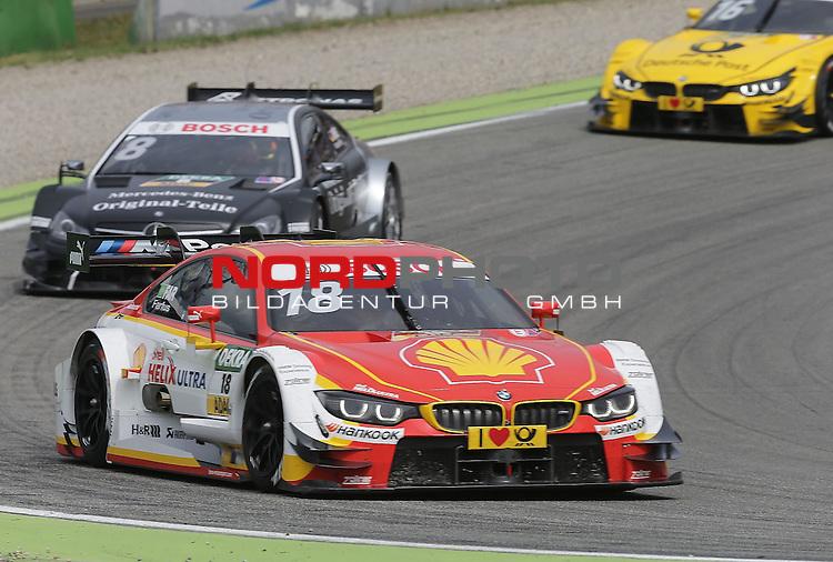 DTM 2015, 01.Lauf Hockenheimring, 01.05. - 03.05.15 <br /> Augusto Farfus (BRA#18) BMW Team RBM BMW M4 DTM , Christian Vietoris (DEU#8) gooix/Original-Teile Mercedes-AMG C-Coup&eacute; <br /> <br /> <br /> <br /> Foto &copy; nordphoto /  Bratic