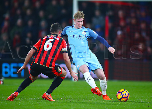 February 13th 2017, Vitality Stadium, Bournemouth, Dorset, England; EPL Premier league football, Bournemouth versus Manchester City; Kevin De Bruyne of Manchester City releases the ball, as Andrew Surman of Bournemouth looks to challenge