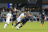 San Jose, CA - Saturday April 08, 2017: Clint Dempsey, Darwin Ceren  during a Major League Soccer (MLS) match between the San Jose Earthquakes and the Seattle Sounders FC at Avaya Stadium.