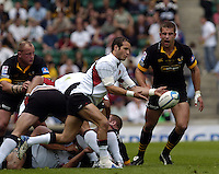 Twickenham, GREAT BRITAIN, 2004 Heineken Cup Final. Frederic Michalak, looks to clear the ball, during the  London London Wasps v Toulouse, final at Twickenham on  23/05/2004  [Credit Peter Spurrier/Intersport Images].   [Mandatory Credit, Peter Spurier/ Intersport Images].