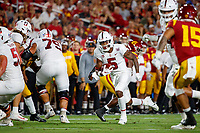 LOS ANGELES, CA - SEPTEMBER 7: Stanford Cardinal wide receiver Connor Wedington #5 runs after a pass completion during a game between USC and Stanford Football at Los Angeles Memorial Coliseum on September 7, 2019 in Los Angeles, California.