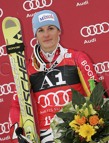 28 12 2009 WINNER Kathrin Hoelzl of Germany Celebrates her Medal Won in Women Giant Slalom World Cup Race in Lienz Austra Giant Slalom Race for women  Audi FIS Alpine Skiing World Cup 2009  in Lienz Slovenia ON 28th of December 2009 .