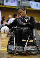 Maia Amai in action during the 2017 International Wheelchair Rugby Federation Asia-Oceania Zone Championships tournament match between the New Zealand Wheel Blacks and Japan at ASB Stadium in Auckland, New Zealand on Thursday, 31 August 2017. Photo: Dave Lintott / lintottphoto.co.nz
