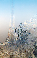 ICE CRYSTALS ON GLASS PANE<br /> Frost on Window