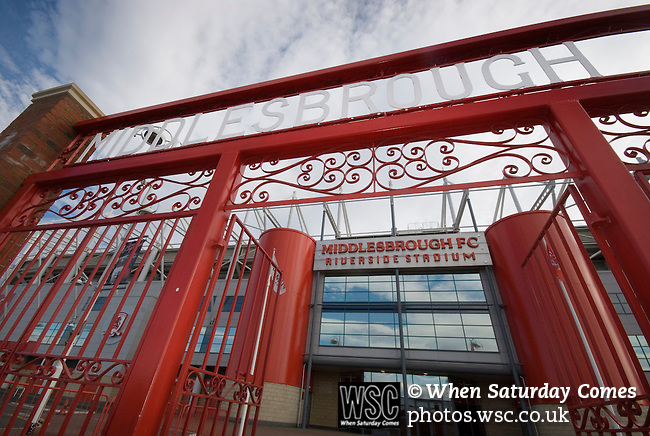 The gates of Ayresome Park, Middlesbrough's old ground, outside the Riverside Stadium. Middlesbrough 0 Wigan Athletic 0, 21/02/2009. The Riverside Stadium, Middlesbrough. Premier League. Photo by Paul Thompson.
