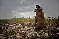 Messeret Seifu, 42 years old, collects wood searching through garbage transported by a recent flood of the Akaki river in the village of Akaki, in the outskirts of Ethiopia on Tusday September 16 2008..Despite its high toxicity, the Akaki river is still used for various purposes including irrigation and animal drink. The major pollutant industries  include tanneries, breweries, wineries, distilleries, soft drink, chemical and metal work industries, the Addis Ababa Abattoir Enterprise and the National Tobacco Factory.