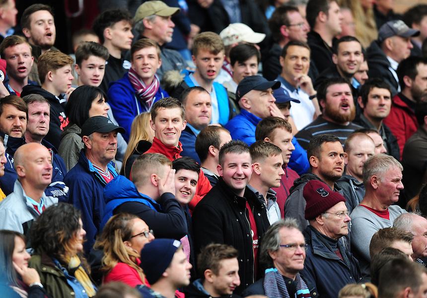 Burnley fans during the first half<br /> <br /> Photographer Chris Vaughan/CameraSport<br /> <br /> Football - Barclays Premiership - Burnley v Leicester City - Saturday 25th April 2015 - Turf Moor - Burnley<br /> <br /> &copy; CameraSport - 43 Linden Ave. Countesthorpe. Leicester. England. LE8 5PG - Tel: +44 (0) 116 277 4147 - admin@camerasport.com - www.camerasport.com