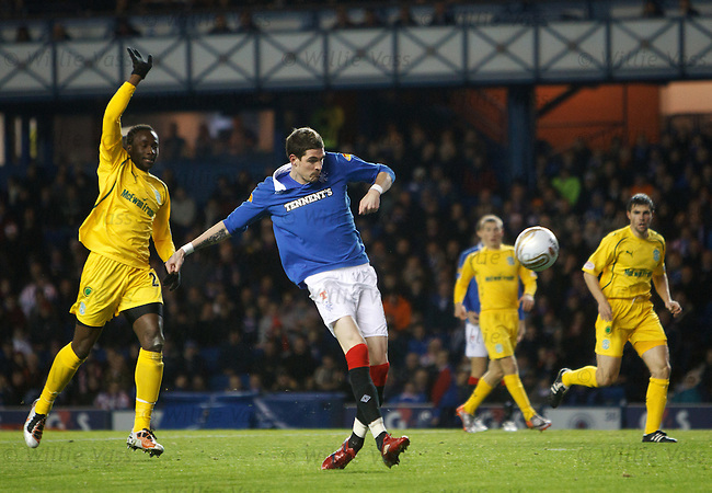 Kyle Lafferty ballons the ball over the bar