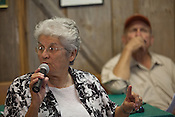 "PANNA MARIA, TX - SEPTEMBER 23, 2013: Sister Elizabeth, a community activist, speaks at a public meeting held by Earthworks, who presented a report called, ""Reckless Endangerment While Fracking the Eagle Ford"". CREDIT: Lance Rosenfield/Prime"