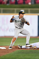 Dayton Dragons second baseman Avain Rachal (7) attempts to turn a double play during a game against the Lake County Captains on June 7, 2014 at Classic Park in Eastlake, Ohio.  Lake County defeated Dayton 4-3.  (Mike Janes/Four Seam Images)