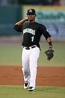 April 13, 2009:  Shortstop Osvaldo Martinez (1) of the Jupiter Hammerheads, Florida State League Class-A affiliate of the Florida Marlins, during a game at Roger Dean Stadium in Jupiter, FL.  Photo by:  Mike Janes/Four Seam Images