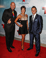 New York, NY -  May 13 : ( L-R ) Edgar Lopez, Mirella Grisales and Karim Mendiburu attend Telemundo's 2014 Upfront in New York<br /> held at Jazz at Lincoln Center's Frederick P. Rose Hall<br /> on May 13, 2014 in New York City. Photo by Brent N. Clarke / Starlitepics
