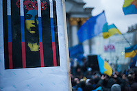 """Ukraine in Russain Jail"" People gather in the independece square in Kiev. Ukriane in the night of EU summit in Vilnus. Thousands of people are continuing to express their support to european integration and protesting against decision of Ukrainian government to refuse signing of association with EU in Vilnius."