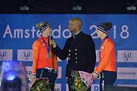 SCHAATSEN: AMSTERDAM: Olympisch Stadion, 10-03-2018, ISU World Allround Speed Skating, Coolste Baan van Nederland, eindpodium Ladies, ©foto Martin de Jong