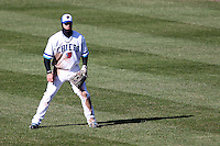 Syracuse Chiefs center fielder Bryce Harper #34 in the outfield during the opening game of the International League season against the Rochester Red Wings at Alliance Bank Stadium on April 5, 2012 in Syracuse, New York.  (Mike Janes/Four Seam Images)