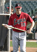 August 11, 2004:  Mark Difelice of the Ottawa Lynx, Triple-A International League affiliate of the Baltimore Orioles, during a game at Frontier Field in Rochester, NY.  Photo by:  Mike Janes/Four Seam Images