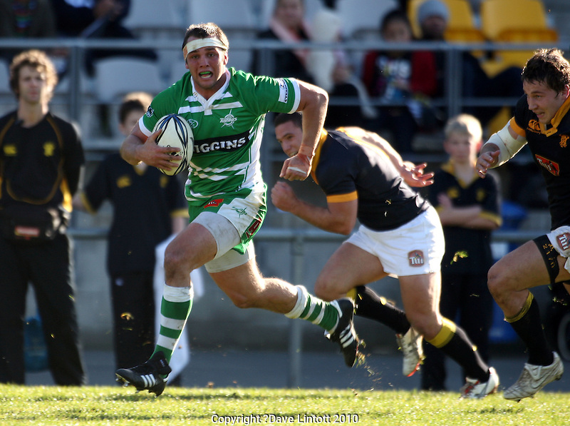 Manawatu flanker Doug Tietjens makes a break. Rugby - Wellington v Manawatu Turbos ITM Cup preseason match at Trust Porirua Park, Porirua, Wellington on Friday 16 July 2010. Photo: Dave Lintott/lintottphoto.co.nz