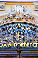 The portico in wrought iron on entrance door to Champagne Louis Roederer, Reims, Champagne, Marne, Ardennes, France