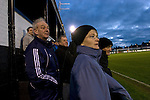 Fraserburgh supporters watching their team trying to snatch victory  in the final few minutes at Bellslea Park, during the club's Highland League fixture against visitors Strathspey Thistle. Nicknamed 'The Broch,' Fraserburgh have been members of the Highland League since 1921 having been formed 11 years earlier. The match ended in a 2-2 draw in front of a crowd of 302.