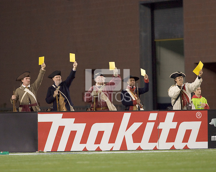 New England End Zone Militia confirm the issuing of a yellow card. New England Revolution defeated the Colorado Rapids, 1-0, at Gillette Stadium on September 29, 2007.
