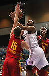 Marcus Landry of the Reno Bighorns makes a shot over Fort Wayne Mad Ants defender Chris Kramer in Friday night's minor league basketball game, Feb. 11, 2011, at the Reno Events Center in Reno, Nev. .Photo by Cathleen Allison