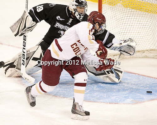 Justin Gates (PC - 29), Johnny Gaudreau (BC - 13) - The Boston College Eagles defeated the Providence College Friars 7-0 on Saturday, February 25, 2012, at Kelley Rink at Conte Forum in Chestnut Hill, Massachusetts.