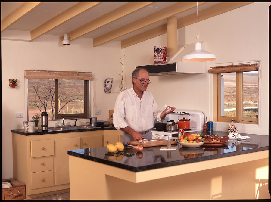 David Baze at his home in Erindera, Mexico<br /> A small magazine sent me to photograph California painter David Baze at his getaway home in Erindera, on the beach south of Ensenada, in Baja California. I'd always loved David's pallette and he had a life-long love affair with the opposite gender. He died one year later in 1998.