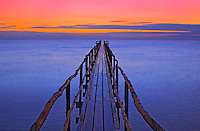 Pier (dock) on Lake Winnipeg at dawn<br /> Matlock<br /> Manitoba<br /> Canada