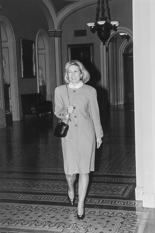 Sen. Kay Bailey Hutchison, R-Tex., heading over to meet with the Senator Bob Dole smiling at group of camera people, June 10. 1993. (Photo by CQ Roll Call via Getty Images)