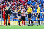 Stockholm 2014-08-31 Fotboll Allsvenskan Djurg&aring;rdens IF - Malm&ouml; FF :  <br /> Djurg&aring;rdens Emil Bergstr&ouml;m ger blommor till Malm&ouml;s Markus Rosenberg innan matchen<br /> (Foto: Kenta J&ouml;nsson) Nyckelord:  Djurg&aring;rden DIF Tele2 Arena Malm&ouml; MFF glad gl&auml;dje lycka leende ler le supporter fans publik supporters