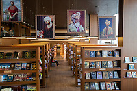 Uzbekistan - Tashkent - A library and co-working space showing Alisher Navaiy's paintings. He was a Chagatai Turkic poet, writer, politician, linguist, mystic, and painter. He was the greatest representative of Chagatai literature.