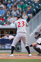 Jacob Stallings (23) of the Indianapolis Indians at bat against the Charlotte Knights at BB&T BallPark on June 17, 2016 in Charlotte, North Carolina.  The Knights defeated the Indians 4-0.  (Brian Westerholt/Four Seam Images)