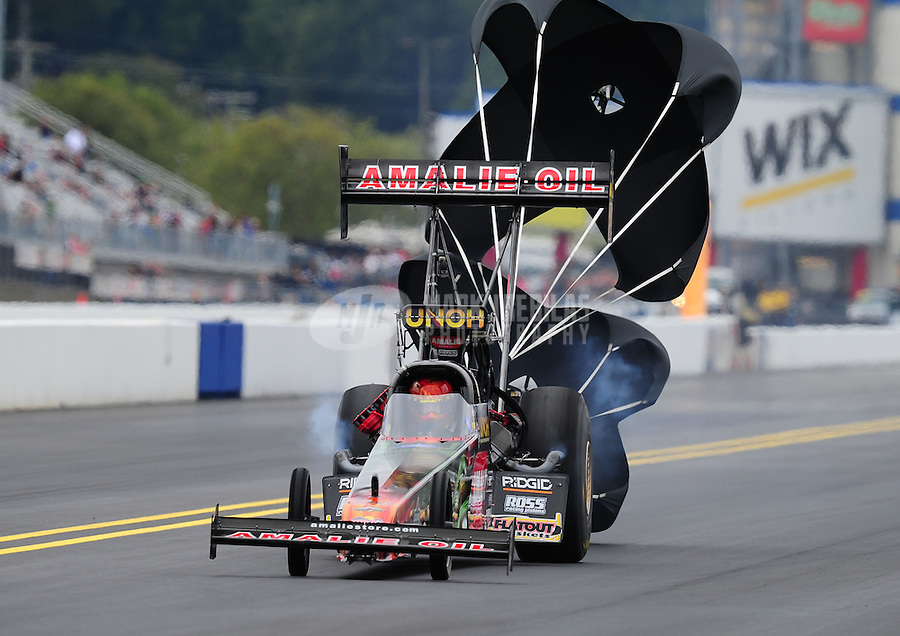 Sept. 18, 2011; Concord, NC, USA: NHRA top fuel dragster driver Terry McMillen during the O'Reilly Auto Parts Nationals at zMax Dragway. Mandatory Credit: Mark J. Rebilas-