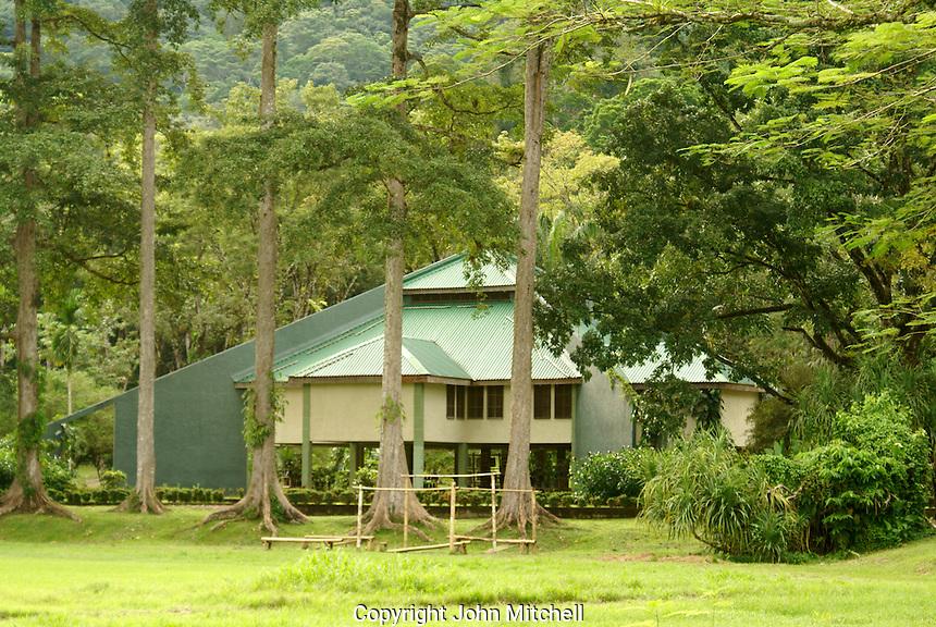 The visitors center at Lancetilla Botanical Garden, Honduras. Lancetilla Garden was established by American botanist William Popenoe in 1926.