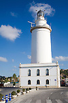 White lighthouse building port of Malaga, Spain