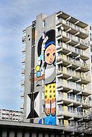 Nederland Amsterdam 2017 . Flat in de Bijlmer. Muurschildering gemaakt door Speto.   Foto Berlinda van Dam / Hollandse Hoogt