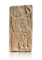 Pictures & images of the North Gate Hittite sculpture stele depicting Hittite man with abow and a bear. 8th century BC. Karatepe Aslantas Open-Air Museum (Karatepe-Aslantaş Açık Hava Müzesi), Osmaniye Province, Turkey. Against white background