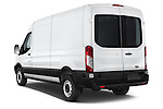 Car pictures of rear three quarter view of a 2018 Ford Transit 250 Van Med Roof Sliding Pass. 130 WB 2 Door Van Angular Rear
