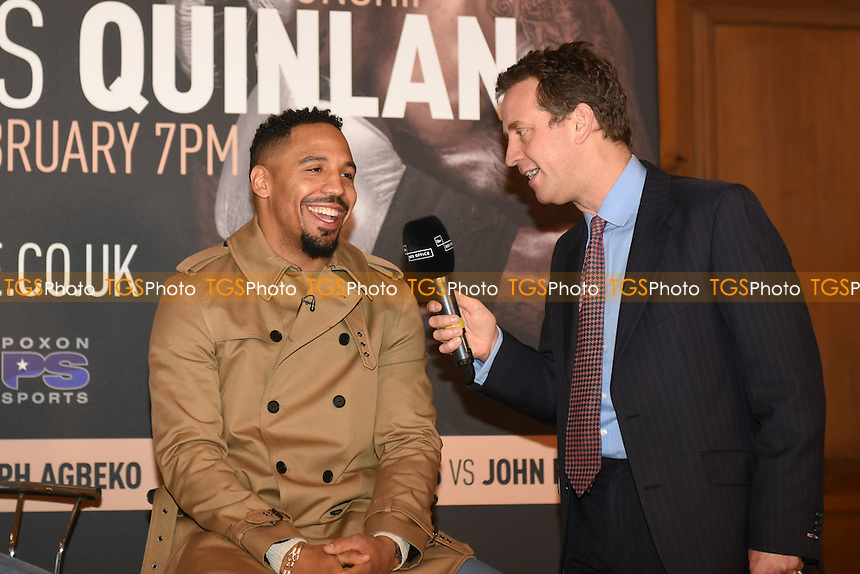 Andre Ward is interviewed during a Poxon Sports Press Conference at the Apex Room on 2nd February 2017