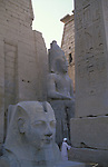 The first Pylon of the Temple at Luxor was built by Ramses II who ruled Egypt from 1279-1213 BC. The pink granite obelisk and two 46 foot high colossi of Ramses II stand by the gateway into the temple.The temple was dedicated to the Theban Triad of Amun,Mut and Khonsu.The town of Luxor occupies the eastern part of a great city of antiquity which the ancient Egytians called Waset and the Greeks named Thebes.