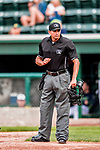 4 September 2017: Minor League Baseball umpire Marcelo Alfonzo works home plate during the second game of a double-header between the Tri-City ValleyCats and the Vermont Lake Monsters at Centennial Field in Burlington, Vermont. The teams split their games, with Tri-City winning 6-5 in the first, then the Lake Monsters taking the second 7-4 in NY Penn League action. Mandatory Credit: Ed Wolfstein Photo *** RAW (NEF) Image File Available ***