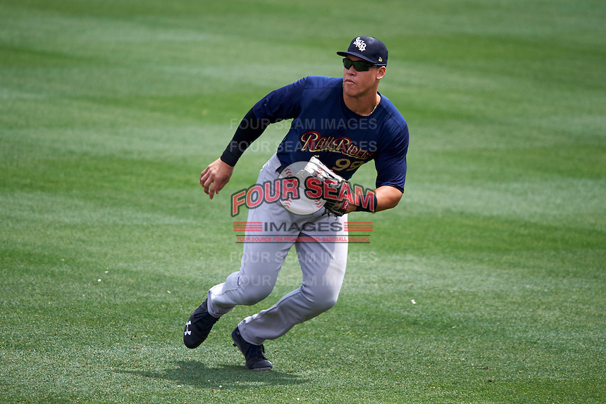 Scranton/Wilkes-Barre RailRiders right fielder Aaron Judge (99) fields a hit down the line during a game against the Buffalo Bisons on July 2, 2016 at Coca-Cola Field in Buffalo, New York.  Scranton defeated Buffalo 5-1.  (Mike Janes/Four Seam Images)