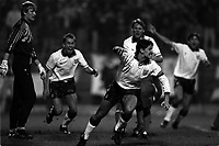 Pix: Michael Steele/SWpix.com. European Championship, qualifier Poland v England, Poznan 1991...COPYWRIGHT PICTURE>>SIMON WILKINSON>>01943 436649>>..Gary Lineker celebrtaes scoring the goal that put England through to the finals. David Platt, Stuart Pearce and Peter Beardsley join in the fun