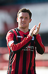 Dundee v St Johnstone...25.04.15   SPFL<br /> Danny Swanson applauds the fans at full time<br /> Picture by Graeme Hart.<br /> Copyright Perthshire Picture Agency<br /> Tel: 01738 623350  Mobile: 07990 594431