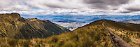 Path at the start of Pichincha Volcano with Quito in the background, Pichincha Province, Ecuador, South America