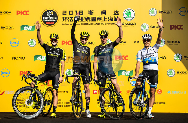 European Champion Matteo Trentin (ITA), Mathew Hayman (AUS) and Mitchelton-Scott team mates at the team presentation before the start of the 2018 Shanghai Criterium, Shanghai, China. 17th November 2018.<br /> Picture: ASO/Alex Broadway | Cyclefile<br /> <br /> <br /> All photos usage must carry mandatory copyright credit (&copy; Cyclefile | ASO/Alex Broadway)