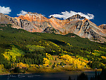 Early Autumn at Yellow Mountain, Colorado ©2017 James D Peterson.  Near Lizard Head Pass and towering above Trout Lake, this rugged peak displays its red hues on a clear autumn afternoon.  The aspens on the lower slopes are beginning to show off their fall color.