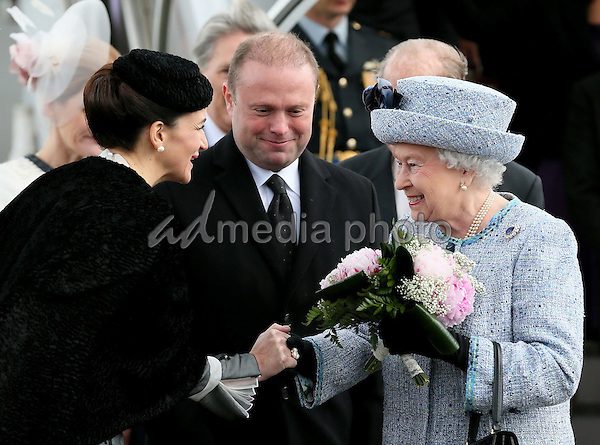 26-11-2015 Malta Queen Elizabeth and Prince Philip, the Duke of Edinburgh, with the President of Malta, Marie-Louise Coleiro Preca, on the 1st day of the 3 day state visit to Malta. Photo Credit: PPE/face to face/AdMedia