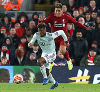 Bayern Munich's Kingsley Coman gets away from Liverpool's Roberto Firmino<br /> <br /> Photographer Rich Linley/CameraSport<br /> <br /> UEFA Champions League Round of 16 First Leg - Liverpool and Bayern Munich - Tuesday 19th February 2019 - Anfield - Liverpool<br />  <br /> World Copyright © 2018 CameraSport. All rights reserved. 43 Linden Ave. Countesthorpe. Leicester. England. LE8 5PG - Tel: +44 (0) 116 277 4147 - admin@camerasport.com - www.camerasport.com